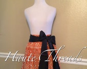 Auburn Tigers / Oregon State Beavers / UTSA Roadrunners Orange & White Damask Handmade Elastic Waist Skirt with Sash Bow - Medium 6 8