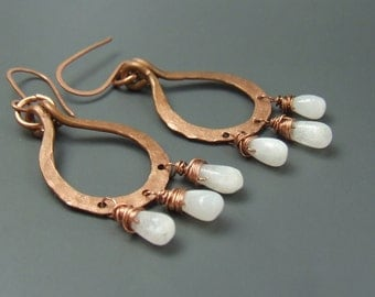 Real moonstone earrings, hammered copper earrings, Fertility stone jewelry, rustic natural stone earrings, rainbow moonstone jewelry