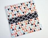 Checkbook Cover. Wallet. Receipt Holder. Mini Triangles in Mint, Coral, Gold, Black Quatrefoil