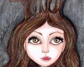 Druid, big eyed girl, print, brown hazel eyes, pagen, woodland witch, good witch, Earth goddess,