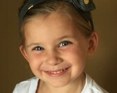 Boutique Baby Top Knot Grey and Gold Polka Dot Headband Top knot Headband White and Gold Turban Headband Twisted Knot Headband