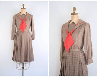 1950s ladies sailor dress outfit - cotton blouse & full pleated skirt / Gingham Check - vintage 50s school girl / Japanese lolita