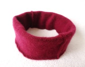 POMEGRANATE Cashmere Headband Earwarmer Upcycled Red Cashmere Sweater by WormeWoole