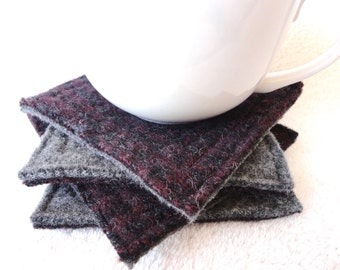 Wool Coasters PLUM & CHARCOAL Grey Recycled Mug Rugs Felted Wool Coasters by WormeWoole