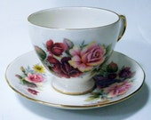 Vintage Queen Anne Beautiful Roses Teacup and Saucer