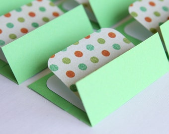 NEW Mini Cards n Envelopes - Set of 8 - Bright Grass Green with Multi Colored Polka Dots