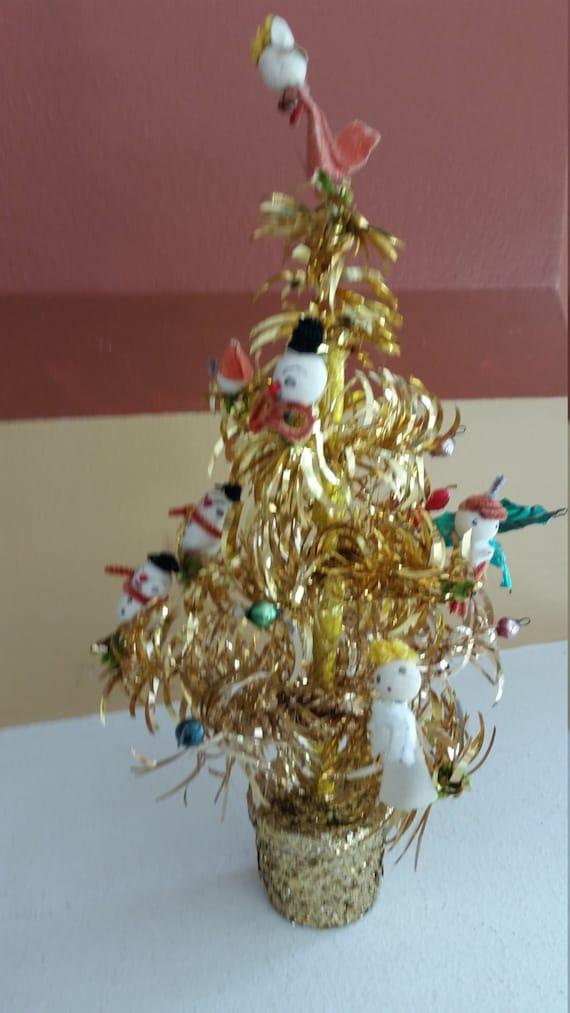Vintage ca gold garland tinsel christmas tree w spun
