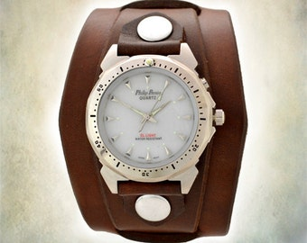 Men's Brown Leather Cuff Watch - Indiglo Backlight