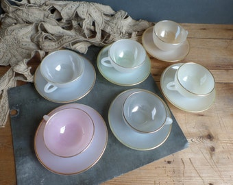 Vintage french design cups pearly soft colors from the 50s pastel