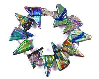 "Dichroic Bracelet Fused Glass - Rainbow Blue Gold Pink Green Orange Purple Chunky Dichro Striped Tie Dye Triangles - 1""  2.5 cm"