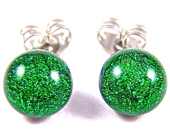 "Tiny Dichroic Post Earrings - 1/4"" 6mm 7mm - Metallic Emerald Green Jade Fused Glass Dichro Dots"