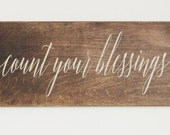 Count Your Blessings Wood Sign, Stained Wood Sign, Thanksgiving, Harvest, Fall Wood Sign, Fall Decor, Thanksgiving Decor, Inspirational Sign
