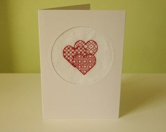 Red Blackwork Hearts Blank Greetings Card Love Anniversary Mother's Day Engagement Wedding