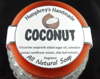 COCONUT Glycerin Soap, Tropical Shave & Shampoo Soap, Beard Wash Round Soap Puck, Argan Oil Brown,  Men's Women's Unisex