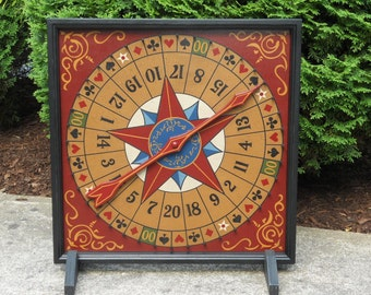 """19"""", Roulette, Game Board, Wood, Hand Painted, Folk Art, Primitive, Wooden, Game Boards, Wheel of Chance"""