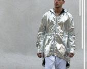 LIQUID SILVER MYLAR anarack jacket ripstop nylon coat anaracks jackets alloy silver metallic silvers coats dope metal silver