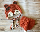Little Miss Fox Hat and Matching Daiper Cover in Burnt Orange, Ecru and Brown Available in Newborn to 24 Month Sizes- MADE TO ORDER