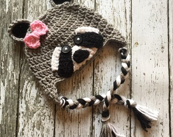 Little Miss Raccoon Hat in Gray, Black and White Available in Newborn to 5 year Sizes- MADE TO ORDER