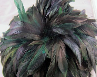 30 Green  feathers loose Schlappen half bronze Dyed 3 to 6 inches  K81a