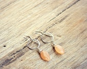 60% OFF Peach Moonstone and Sterling Silver Earrings