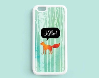 Hello Fox iPhone Case, Orange Fox in Woods iPhone 7 6 6 plus 5s 5c 4s Case, Watercolor Samsung Galaxy s5 s6 s4 s3 Case, Note 3 4 case NP58