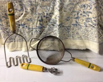 Vintage Yellow Kitchen Can opener strainer masher
