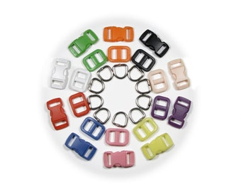 """5 Cat Collar Hardware Kits (SAFETY Buckles, D-Rings & Triglides) 3/8"""" (10mm) - Ten Colors to Choose From"""