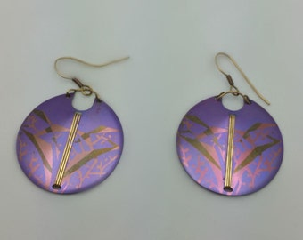 Purple Vintage pierced earrings - round purple design in gold abstract - created using laser, electricity and water - Asian feel - fish hook