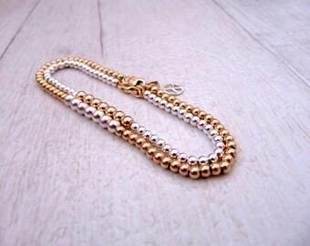 Silver and gold bracelet, Gold and silver bracelet, Gold  bracelet, Silver bracelet, Bead bracelet, Bracelet set, Everyday bracelet