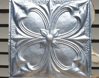 """12"""" Antique Tin Ceiling Tile -- Distressed Silver Colored Paint -- Large Flower Design"""