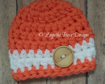 Two-tone striped chunky baby hat - photo prop - baby shower gift - chunky baby hat