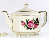 Large Sadler Teapot, Deep Pink Roses on Ivory Tea Pot 12677