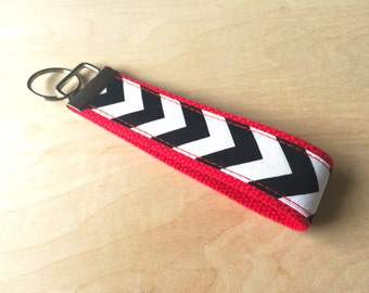 Fabric wristlet keychain, key fob - Black Chevron
