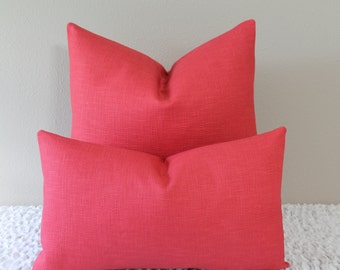 BOTH SIDES - P. Kaufmann Solid Basket Weave in Dark Raspbery Pink - Lumbar and Square Sizes -Decorative Designer Pillow Cover