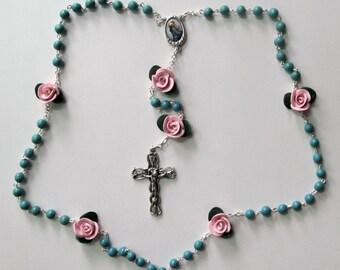 Madonna of the Streets Rosary, clay, handmade