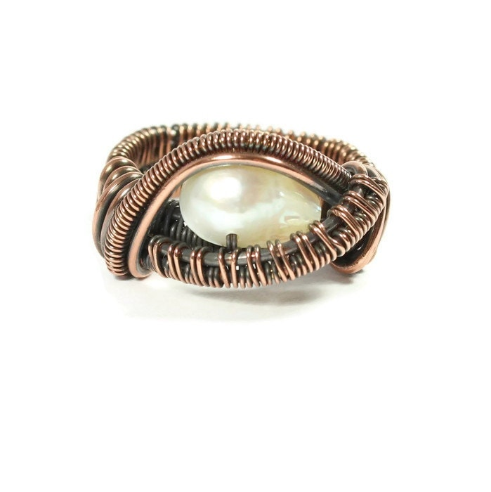 copper wire ring white pearl copper wire jewelry size 7