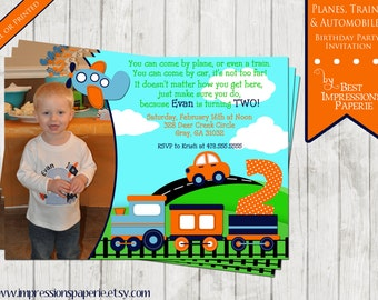 Planes Trains and Automobiles  - A Birthday Invitation - Transportation Party