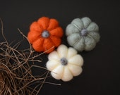 Needle Felted Pumpkins orange sage/mint white miniature autumn fall thanksgiving halloween harvest decor eco friendly