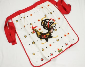 Vintage Rooster Apron - Red, Harvest Gold, Yellow, Brown on Terry Cloth Cotton - Mint  Unused Novelty Half Apron by Sayco California