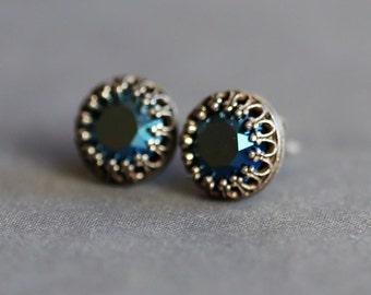 Earring,Post Earring,Post,Stud,Sapphire Blue Earrings,September Birthstone Earrings,Opal,Bridal Earrings Bridesmaid Gift Wedding Earrings