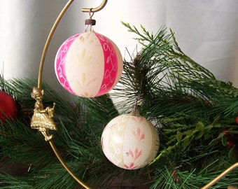Vintage Christmas Ornament Pair of Pink Glass Ball Ornaments Christmas Tree Antique Glass Ornament Pink Holiday Ornament Vintage 1950s