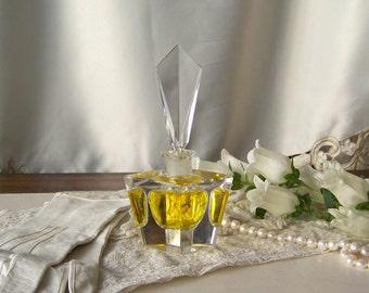 Vintage Art Deco Crystal Glass Perfume Bottle with Stopper Vintage 1940s