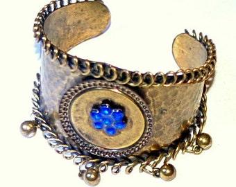 Vintage beaten bronze cuff bracelet