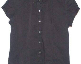 Vintage Cap Sleeve Black cotton top