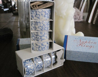 2 Sets of Henn Blue Napkin Rings