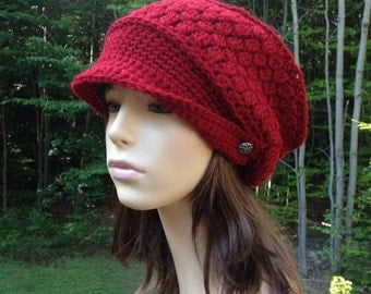 Little Red Slouchy Beret, Hat, Newsboy, Gift, Christmas, Winter, Birthday, Holiday, Slouchy, cancer hat