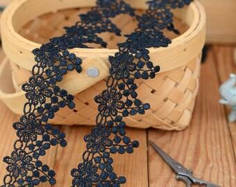 Black Lace Trim- 2 Yards Black Flower Lace Trim (L569)