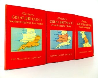 3 Great Britain Vintage travel books, Set of 3 Baedeker's Guides to Great Britain, British Guidebooks, England Guides
