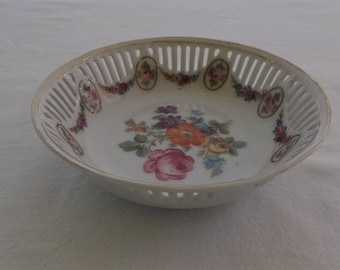 Vintage China Bowl, Small Reticulated Slotted Edge, Floral Center, Germany