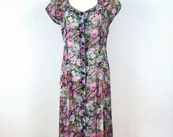90s vintage sheer chiffon midi romantic grunge dress small/ medium